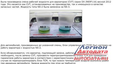 В октябре 2013 года вышел циркуляр, обязывающий проводить замену программного обеспечения блоков управления CVT при замене масла NS-2 на NS-3.